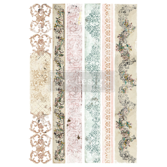 """Redesign Decor Transfers® - Distressed Borders II - Total sheet size 24""""x35"""""""